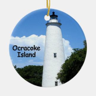 Faro de la isla de Ocracoke Adorno Redondo De Cerámica