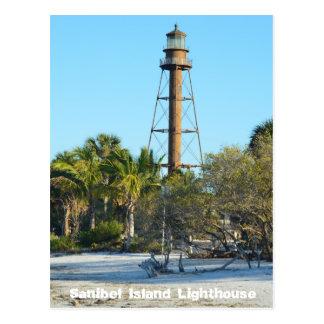 Faro de la isla de Sanibel - postal de la Florida
