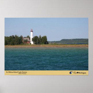 Faro de la isla de St. Helena - Michigan Póster