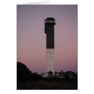 Faro de la isla de Sullivan en la puesta del sol Tarjeta Pequeña