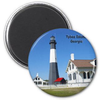 Faro de la isla de Tybee Imán Redondo 5 Cm