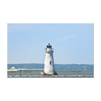 Faro de la isla del espolón de gallo en el puerto  lona envuelta para galerías