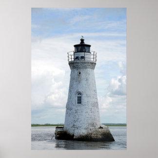 Faro de la isla del espolón de gallo póster