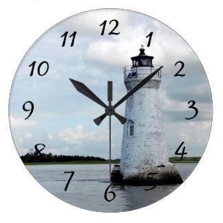 Faro de la isla del espolón de gallo reloj redondo grande
