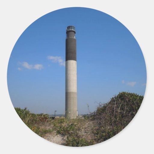 Faro de la isla del roble, Carolina del Norte Pegatina Redonda