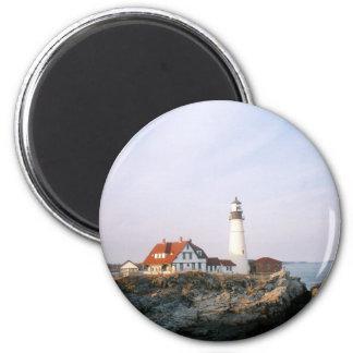Faro de la linterna de Portland en Maine Imán Redondo 5 Cm