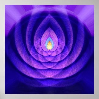 Faro de la mente en púrpura y azul impresiones