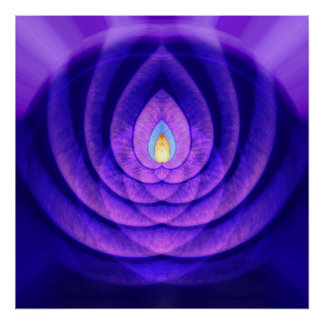 Faro de la mente en púrpura y azul póster