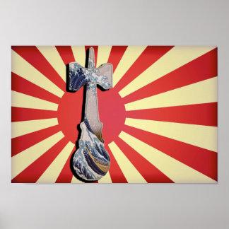 Faro de la onda de Kendama con la bandera de Japón Póster