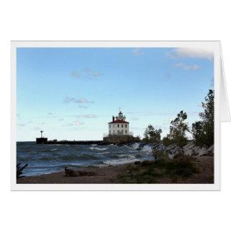 Faro de la playa de los promontorios tarjeta de felicitación
