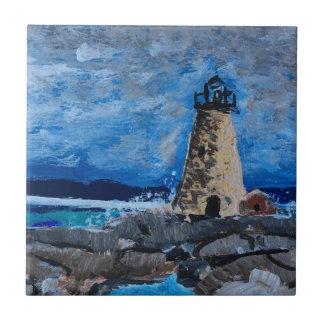 Faro de la playa que pinta la baldosa cerámica azulejo cuadrado pequeño