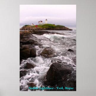 Faro de la protuberancia pequeña - York, Maine Póster