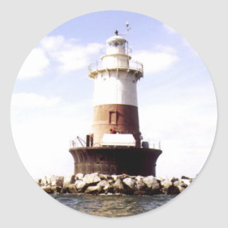 Faro de la repisa de los peckes pegatina redonda