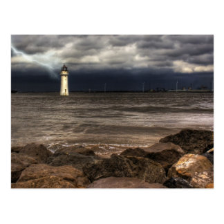 Faro de la roca de la perca, río Mersey Liverpool Tarjetas Postales