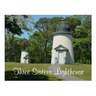 Faro de las hermanas de Cape Cod tres, postal