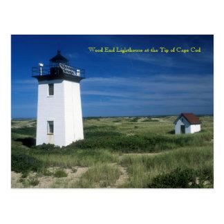 Faro de madera del extremo, extremidad de Cape Cod Tarjetas Postales