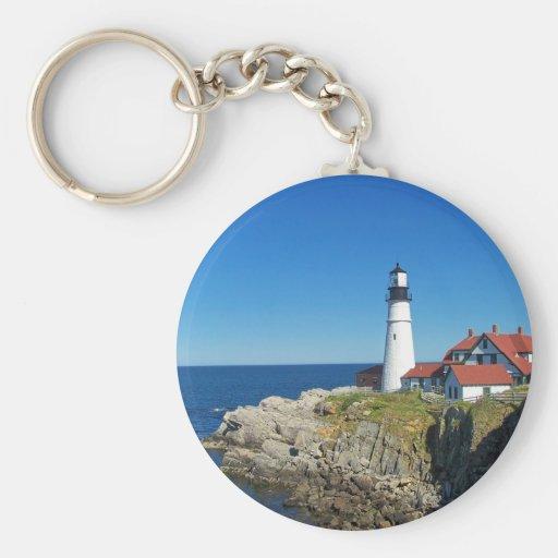 Faro de Maine Coastal Llavero Redondo Tipo Pin