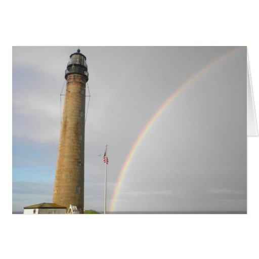 Faro de Maine con el arco iris Felicitaciones