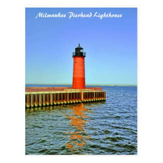 Faro de Milwaukee Pierhead, el lago Michigan Postal