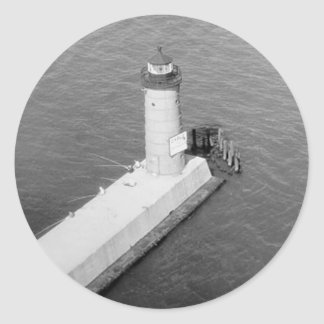 Faro de Milwaukee Pierhead Pegatina Redonda