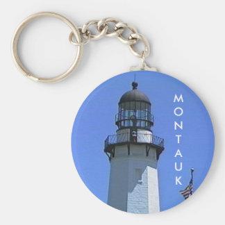 Faro de Montauk, el Hamptons, NY Llavero Redondo Tipo Pin
