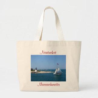 Faro de Nantucket Massachusetts y tote del puerto Bolsas De Mano