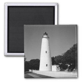 Faro de Ocracoke Imán Cuadrado
