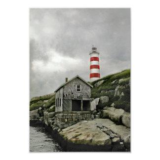 """Faro de Sambro, isla de Sambro, Nueva Escocia Invitación 3.5"""" X 5"""""""