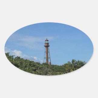 Faro de Sanibel Pegatina Ovalada
