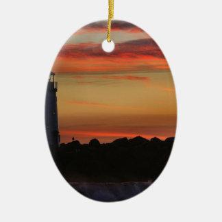 Faro de Santa Cruz de la puesta del sol Ornamento Para Arbol De Navidad