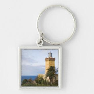 Faro de Tánger Marruecos en el casquillo Spartel Llavero Cuadrado Plateado