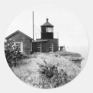 Faro de Wadsworth del fuerte Pegatina Redonda