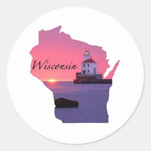 Faro de Wisconsin Pegatina Redonda
