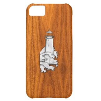 Faro del cromo en la madera de la teca funda para iPhone 5C