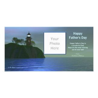 Faro del día de padre - azul tarjetas personales