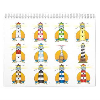Faro del dibujo animado calendario de pared