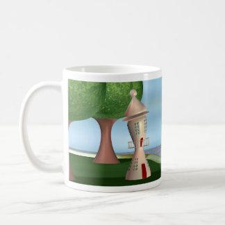 Faro del dibujo animado por el mar taza clásica