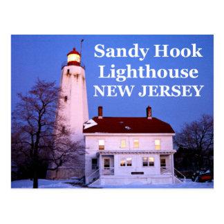 Faro del gancho de Sandy, postal de New Jersey