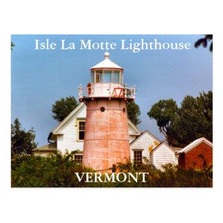 Faro del La Motte de la isla, postal de Vermont
