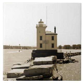 Faro del lago Erie Azulejo Cuadrado Grande