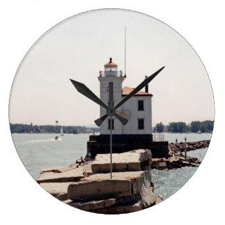 Faro del lago Erie Reloj Redondo Grande