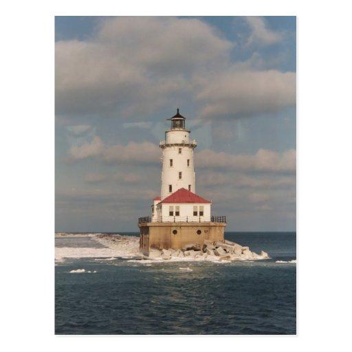 Faro del lago Michigan Tarjetas Postales