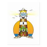 Faro del oro del navidad del dibujo animado postal