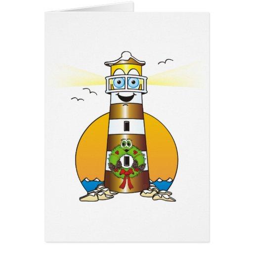 Faro del oro del navidad del dibujo animado tarjeta