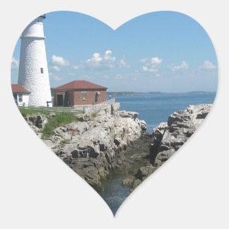 Faro del puerto de la barra pegatina en forma de corazón