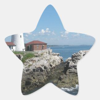 Faro del puerto de la barra pegatina en forma de estrella