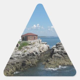 Faro del puerto de la barra pegatina triangular
