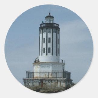 Faro del puerto de Los Ángeles Pegatina Redonda