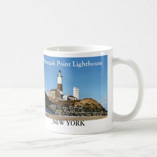 Faro del punto de Montauk taza de Nueva York