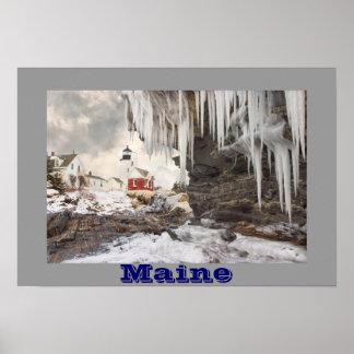 Faro del punto de Pemaquid en la costa de Maine Posters